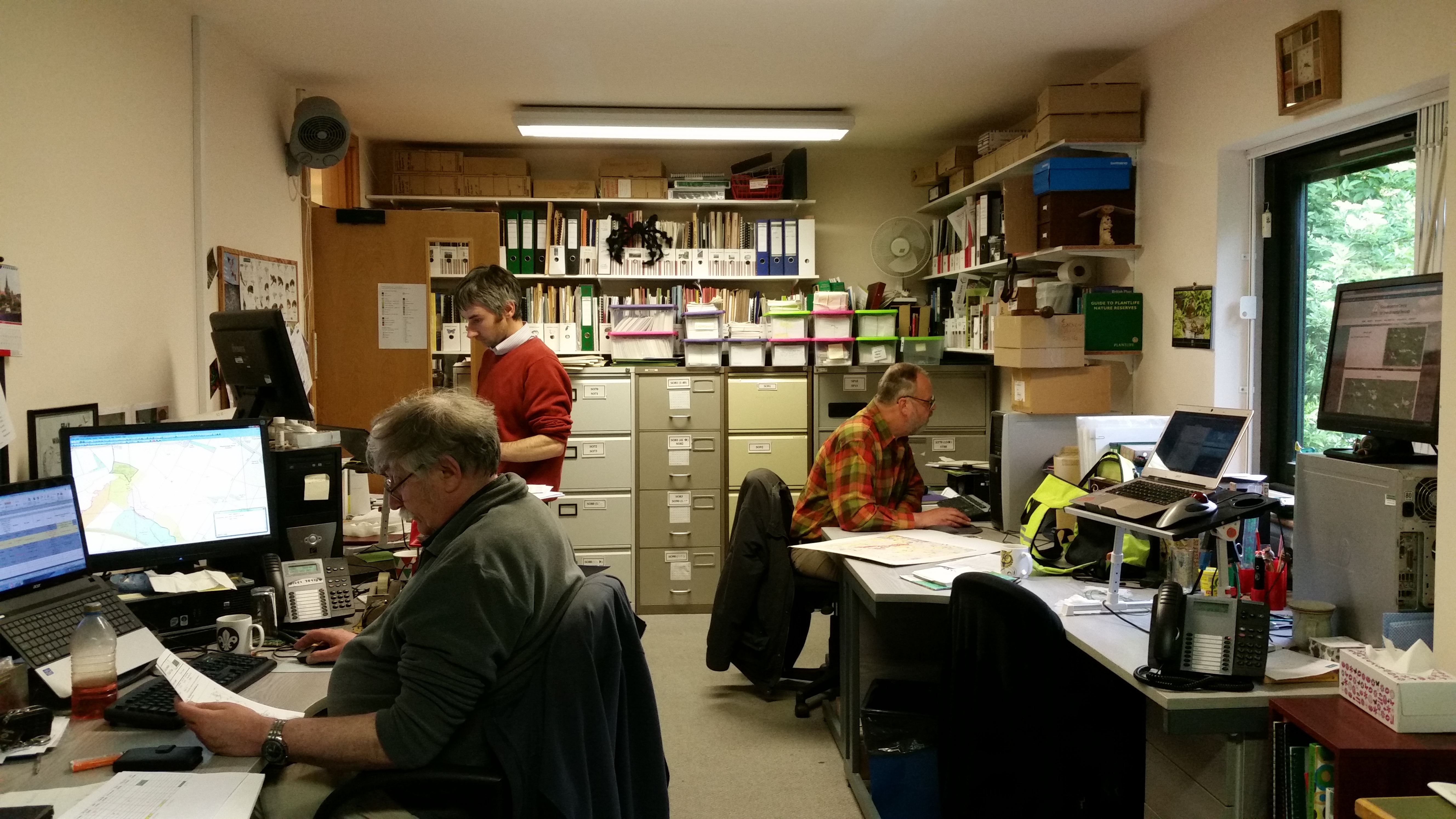 Andrew, Rob & volunteer Peter working in the GCER office on a quiet day.